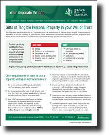 Your Separate Writing:<br>  Gifts of Tangible Personal Property in your Last Will and Testament